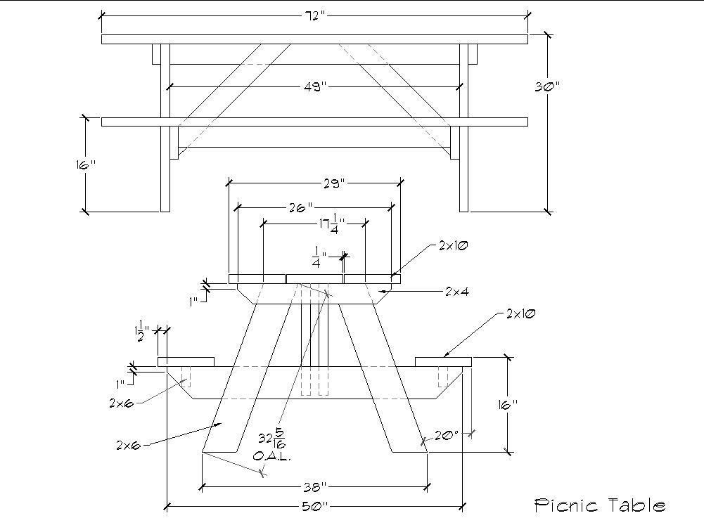 How to build 6 foot picnic table plans pdf plans for Table design plans